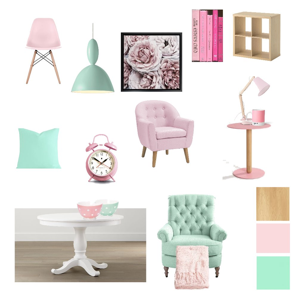 Mint Green Light pink Mood Board by RuvedeBeer on Style Sourcebook