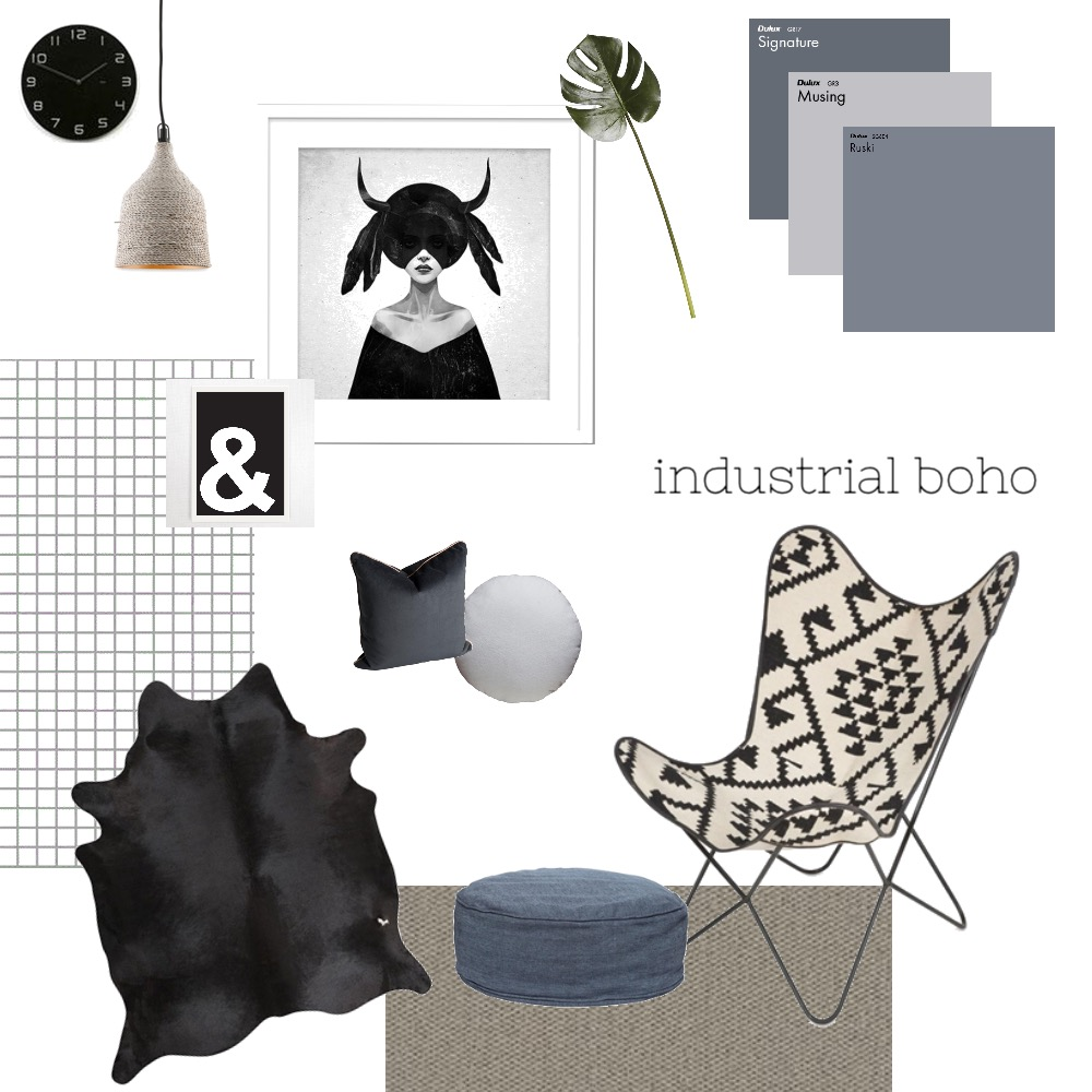 Industrial Boho Interior Design Mood Board by TheBlushCollective on Style Sourcebook