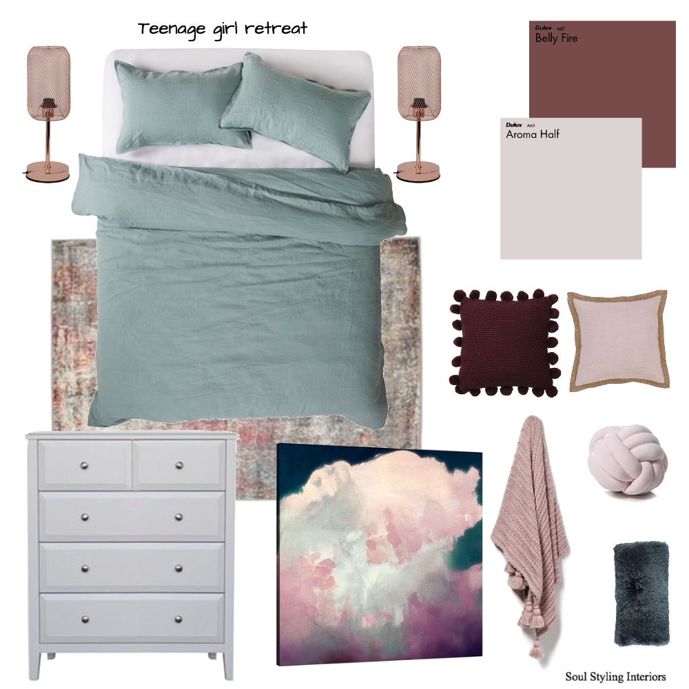 Cool tone girls room Interior Design Mood Board by Krysti-glory90 on Style Sourcebook