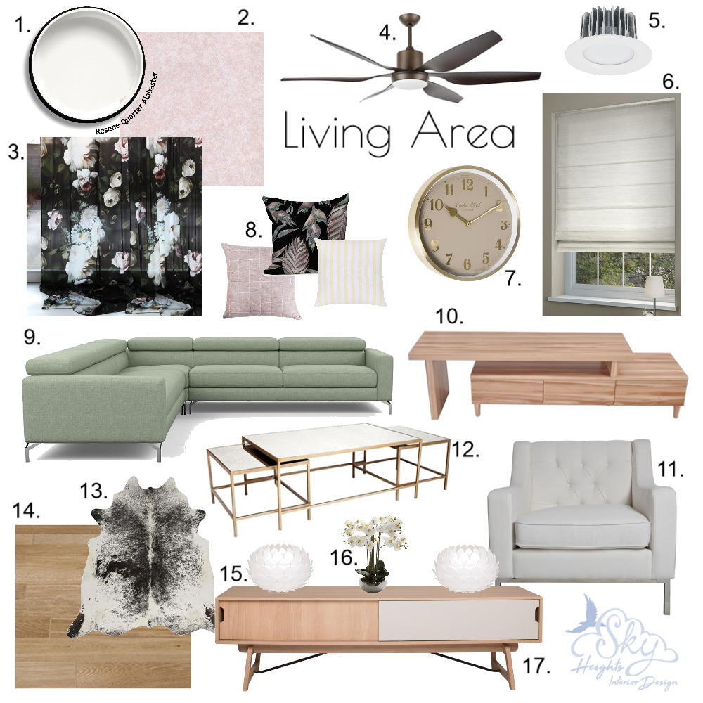 Floral Blush Living Area Mood Board by Skye Burnie on Style Sourcebook