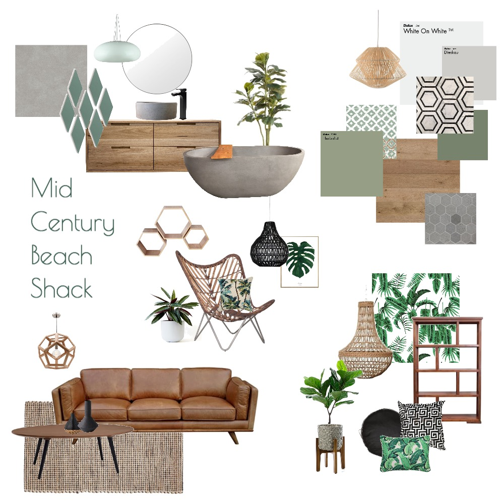 Mid Century Beach Shack Interior Design Mood Board by White With One Interior Design on Style Sourcebook