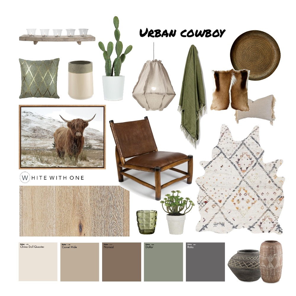 Urban Cowboy Interior Design Mood Board by White With One Interior Design on Style Sourcebook