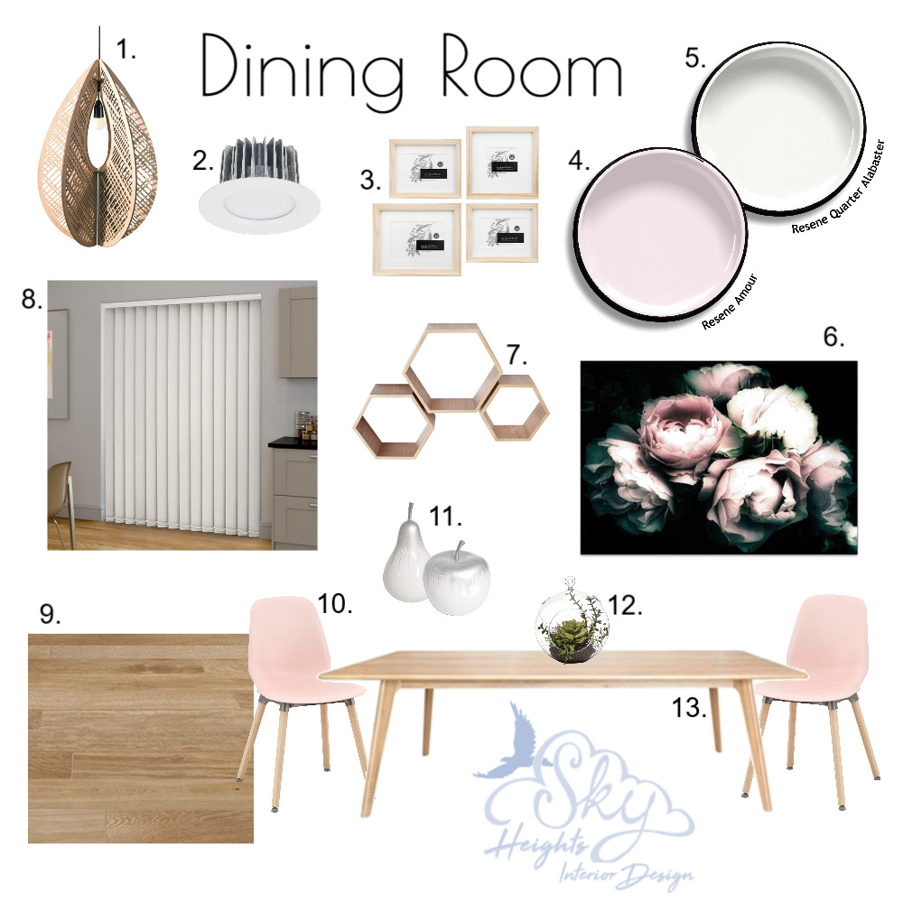 Floral Blush Dining Room Mood Board by Skye Burnie on Style Sourcebook