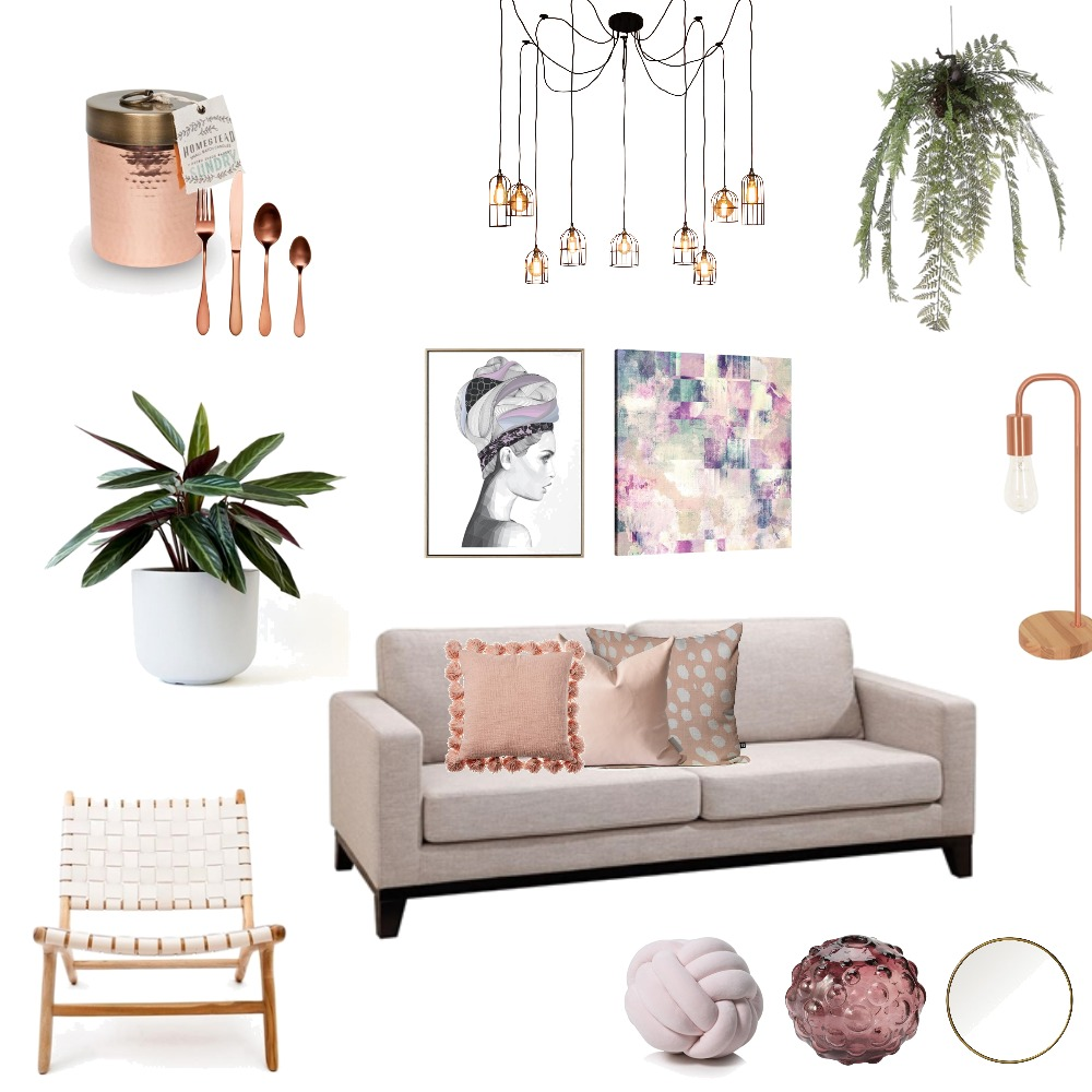 Pink living Interior Design Mood Board by fakata on Style Sourcebook