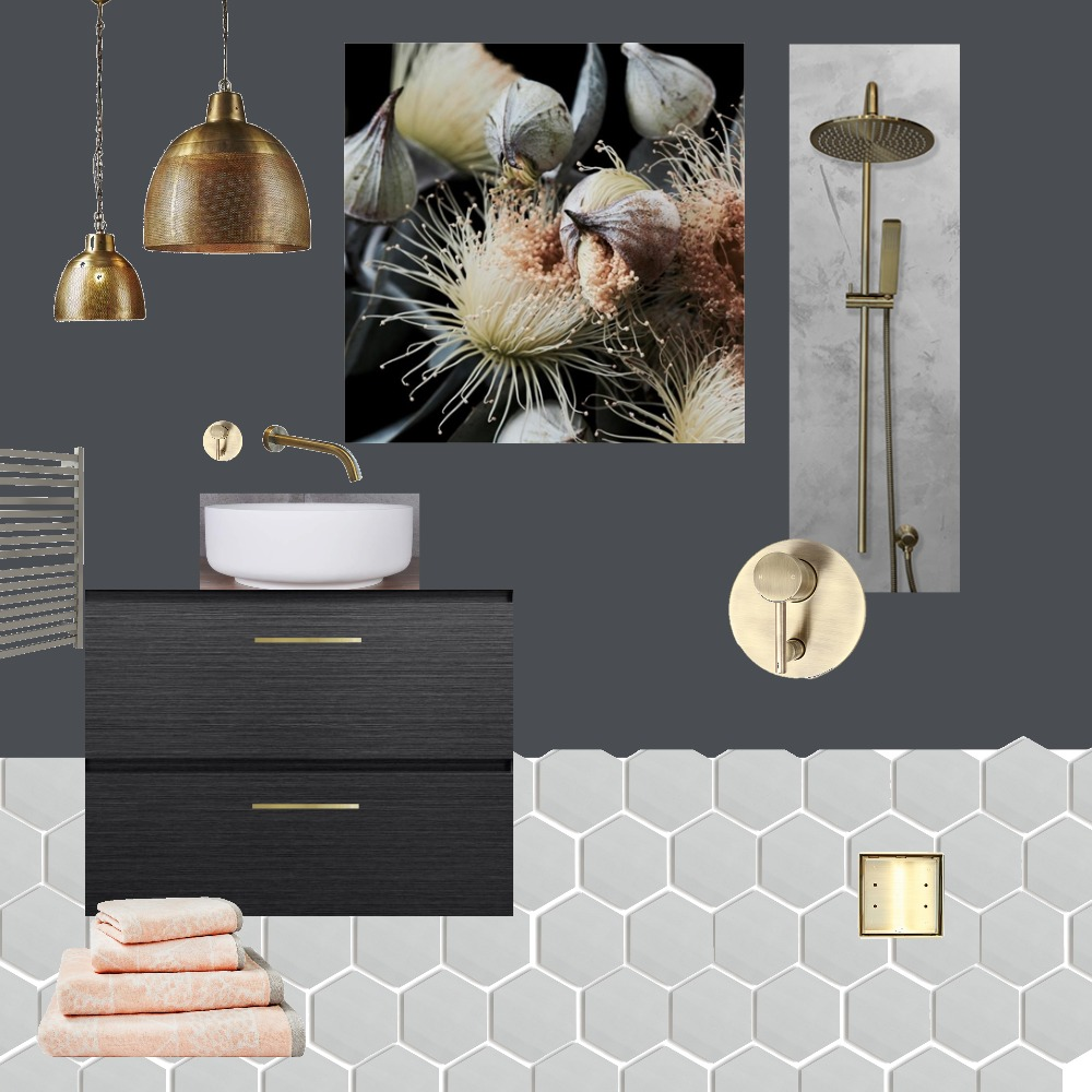 Black - Brass Bathroom Interior Design Mood Board by Just In Place on Style Sourcebook