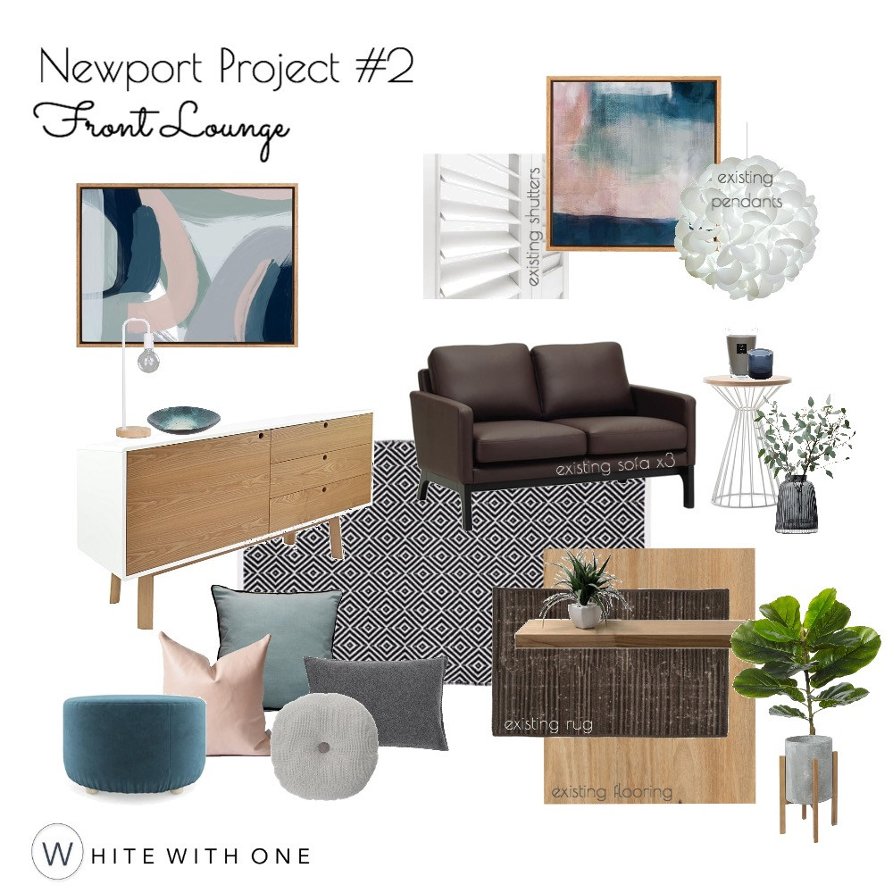 Newport Project - Front Lounge V1 Draft Interior Design Mood Board by White With One Interior Design on Style Sourcebook