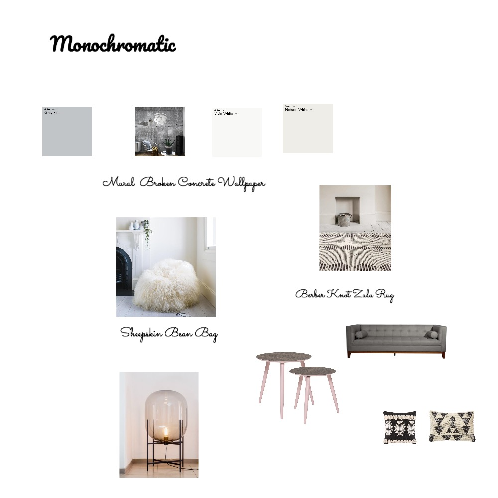 Monochromatic Interior Design Mood Board by pmccallan0 on Style Sourcebook