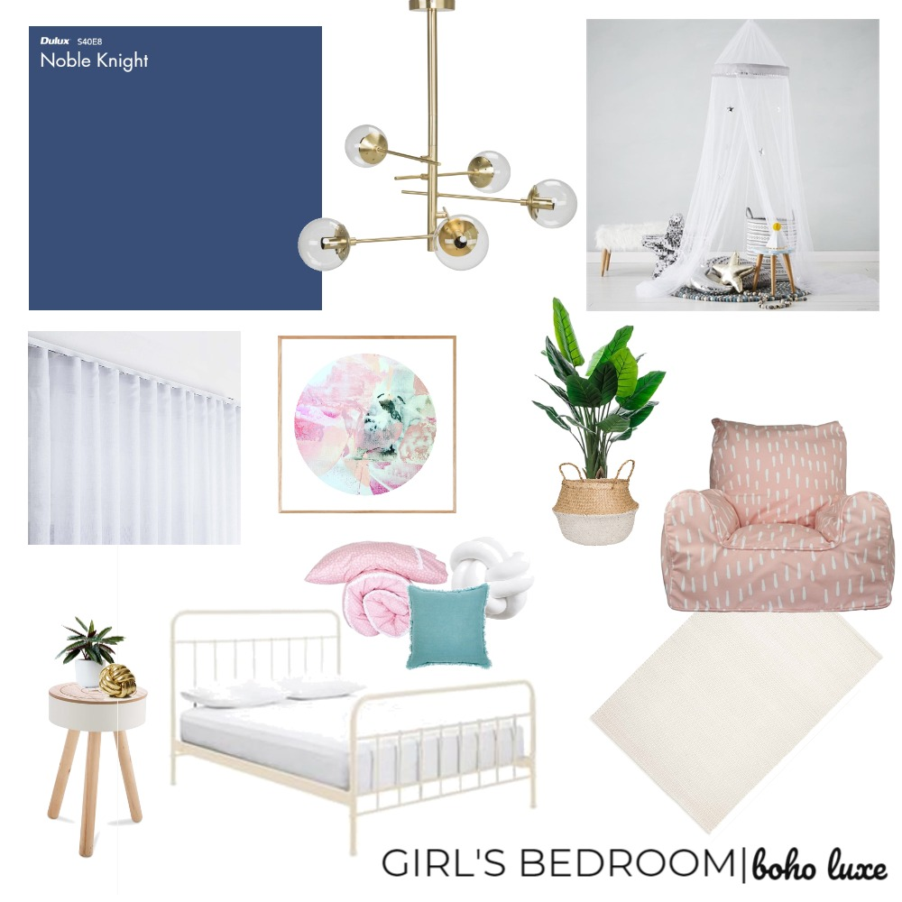 GIRL'S BEDROOM | BOHO LUXE Interior Design Mood Board by mortarandnoir on Style Sourcebook