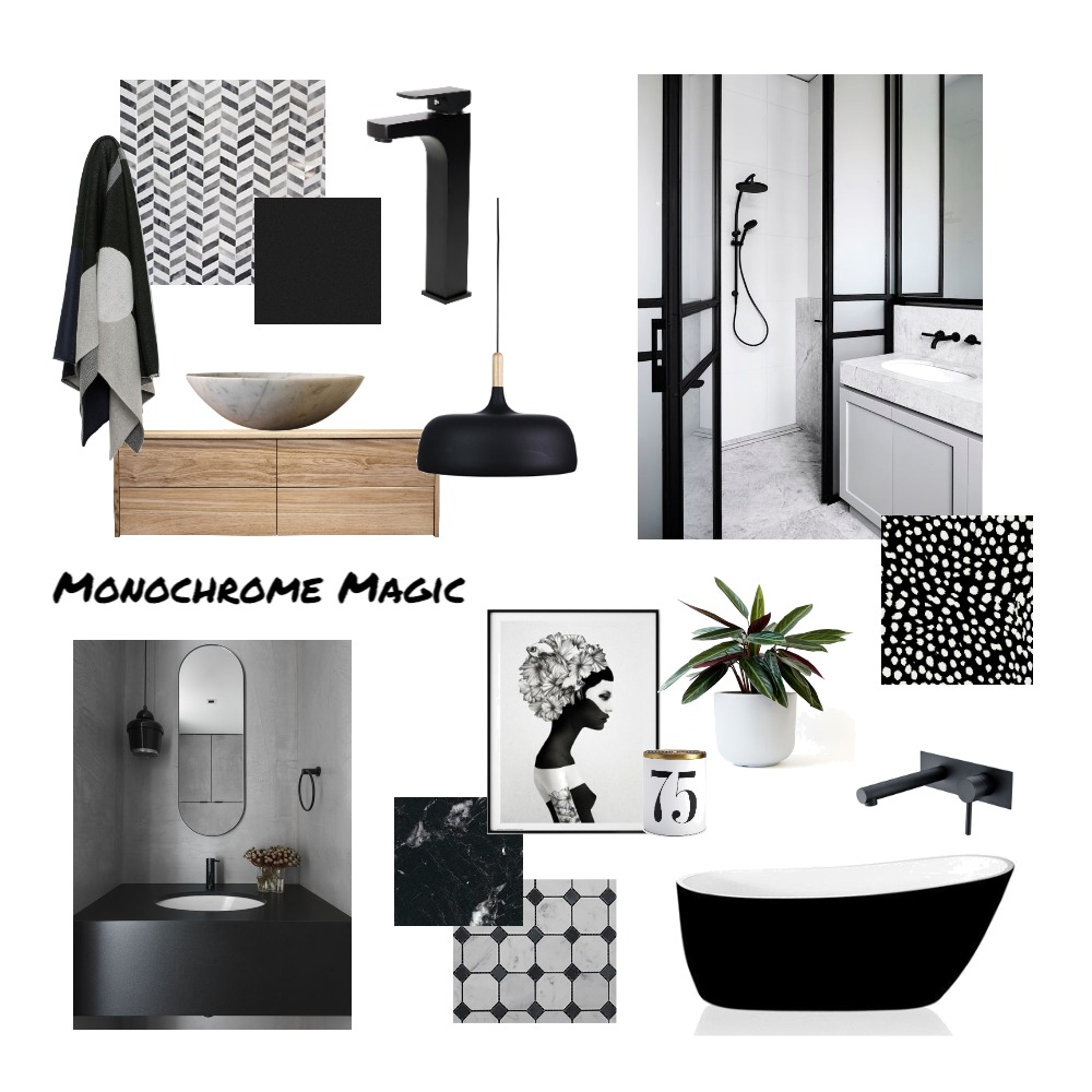 Monochrome Bathroom Mood Board by interiorsbyayla on Style Sourcebook