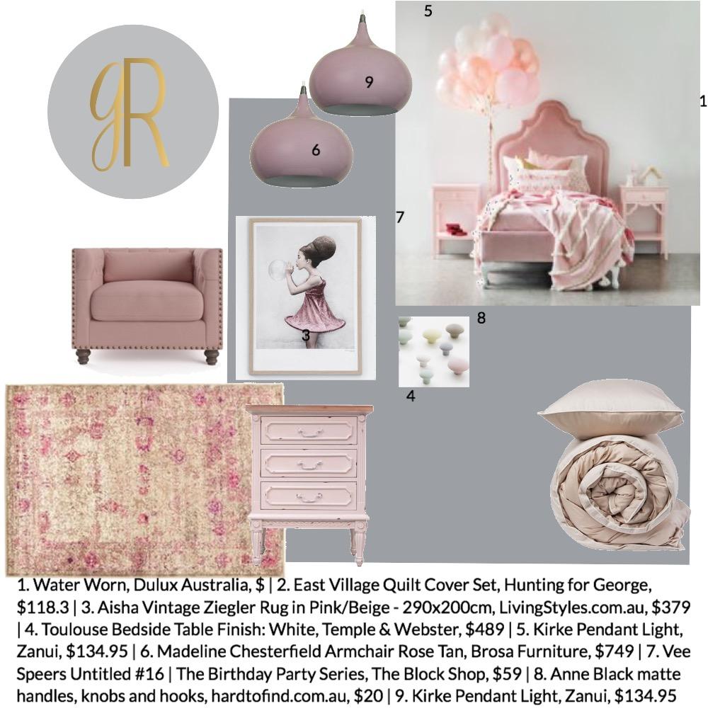 Girls Bedroom Interior Design Mood Board by GeorginaRahi on Style Sourcebook