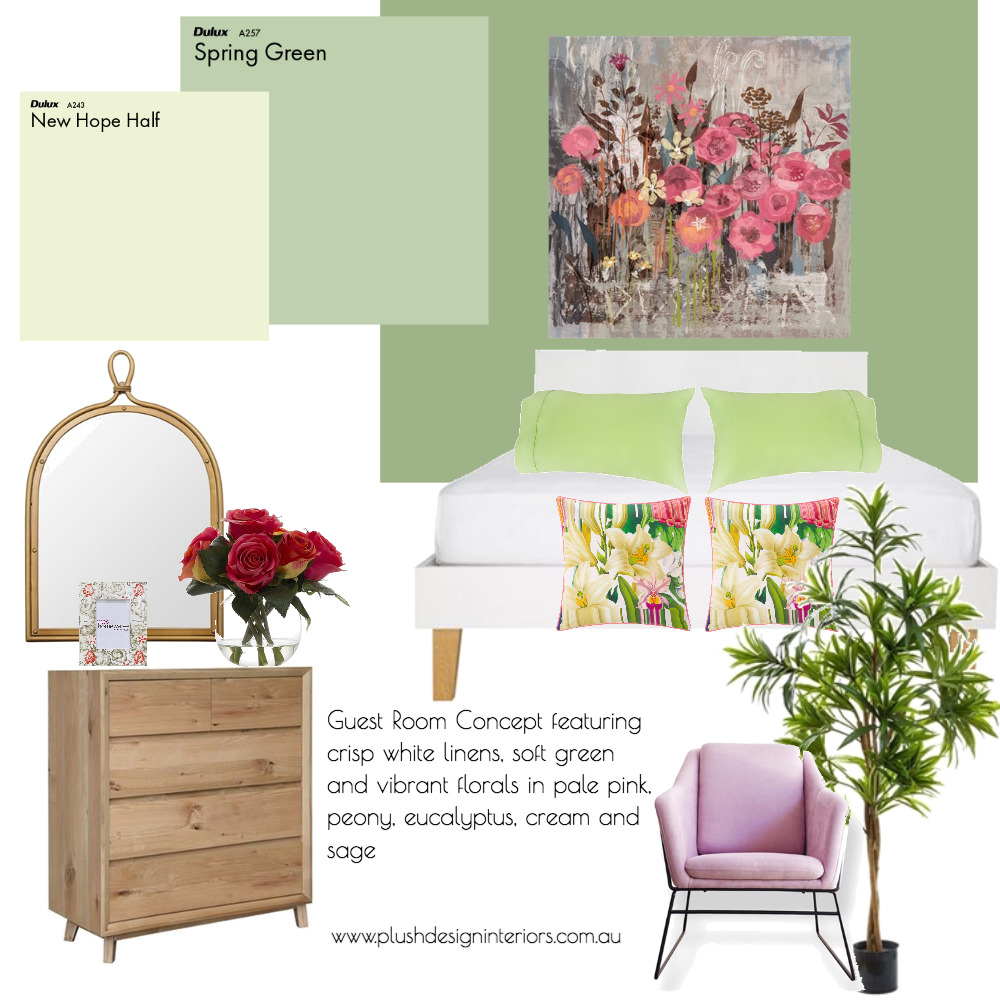 Raelene S 'Floral' Guest Bedroom Mood Board by Plush Design Interiors on Style Sourcebook