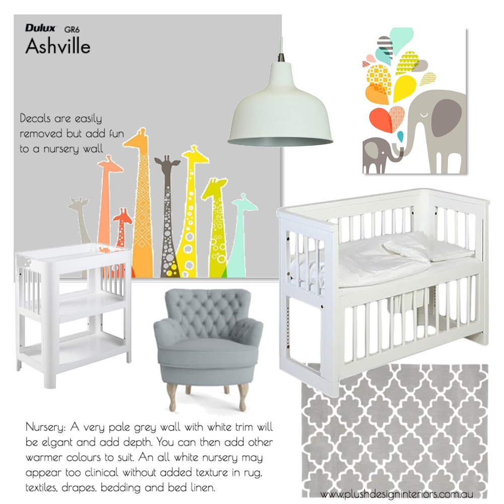 R + R Eckey Nursery Interior Design Mood Board by Plush Design Interiors on Style Sourcebook