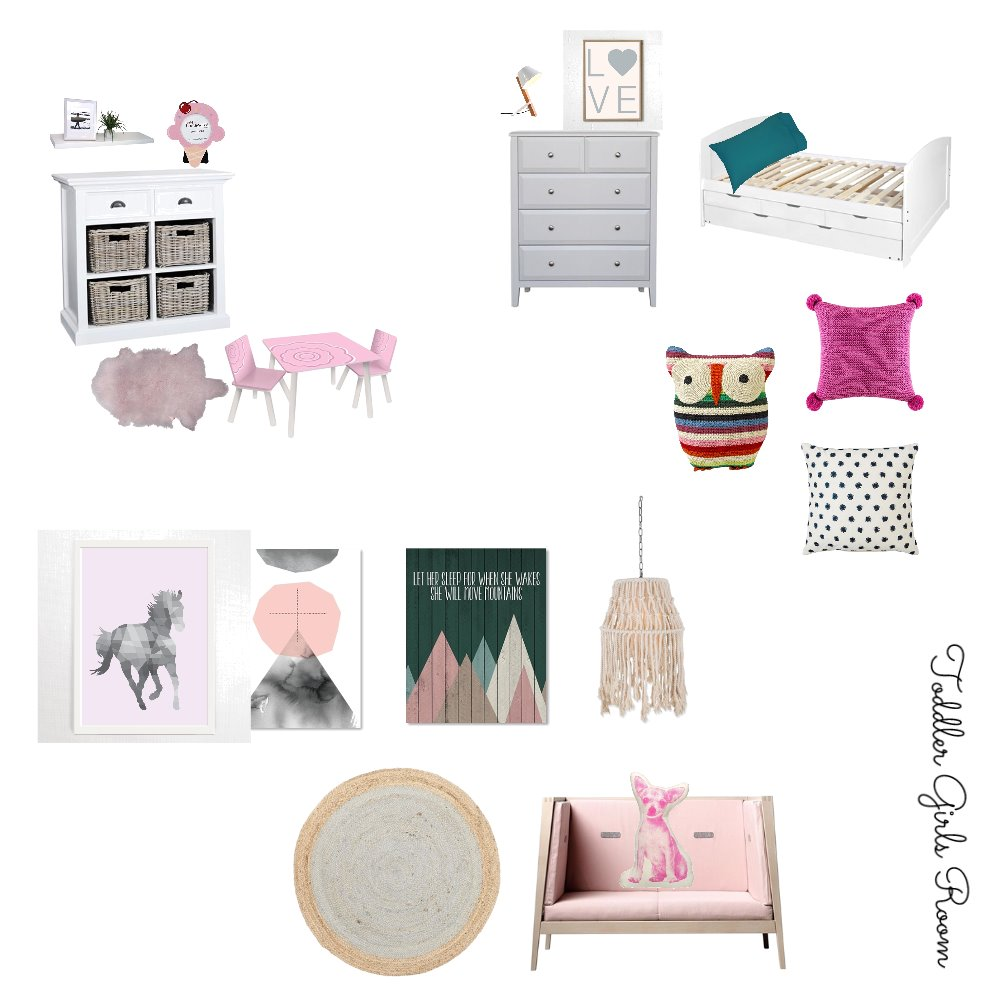 Girls Bedroom (5 yr old) - Raize the Roof Interior Design Mood Board by Jodie McCaskill Designs on Style Sourcebook