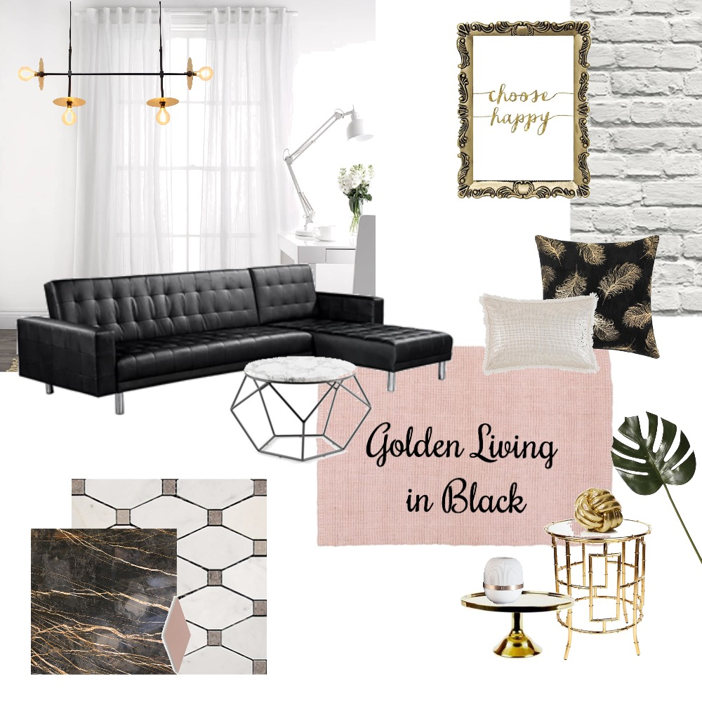 Living Room in Gold & Black Interior Design Mood Board by Danielle_m on Style Sourcebook