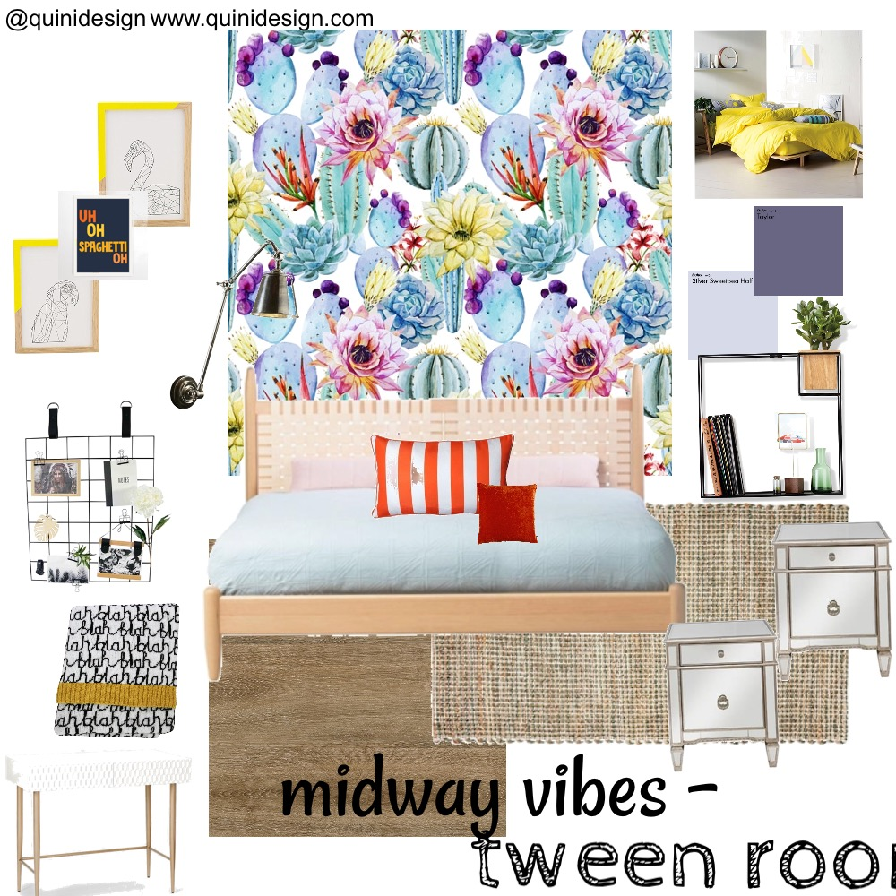 Midway vibes -tween room Interior Design Mood Board by quinidesign on Style Sourcebook