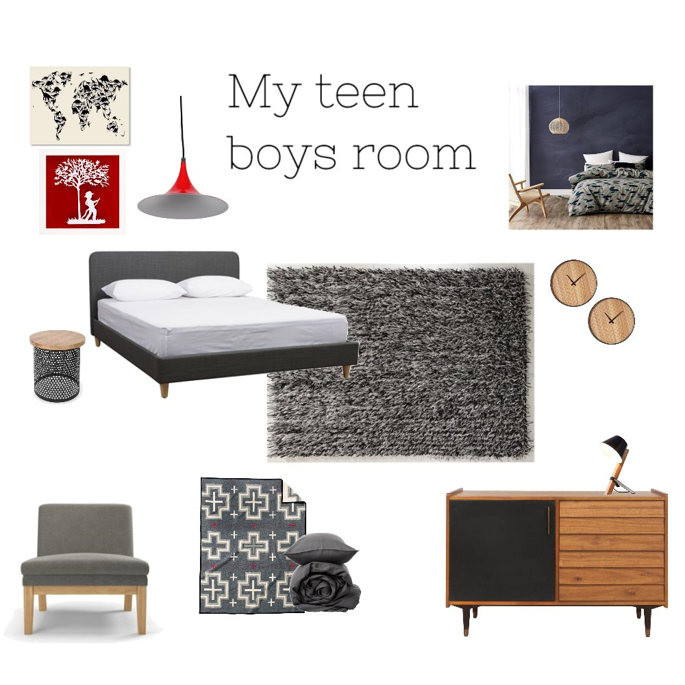 Teen boy bedroom Interior Design Mood Board by Souldesignconcepts on Style Sourcebook