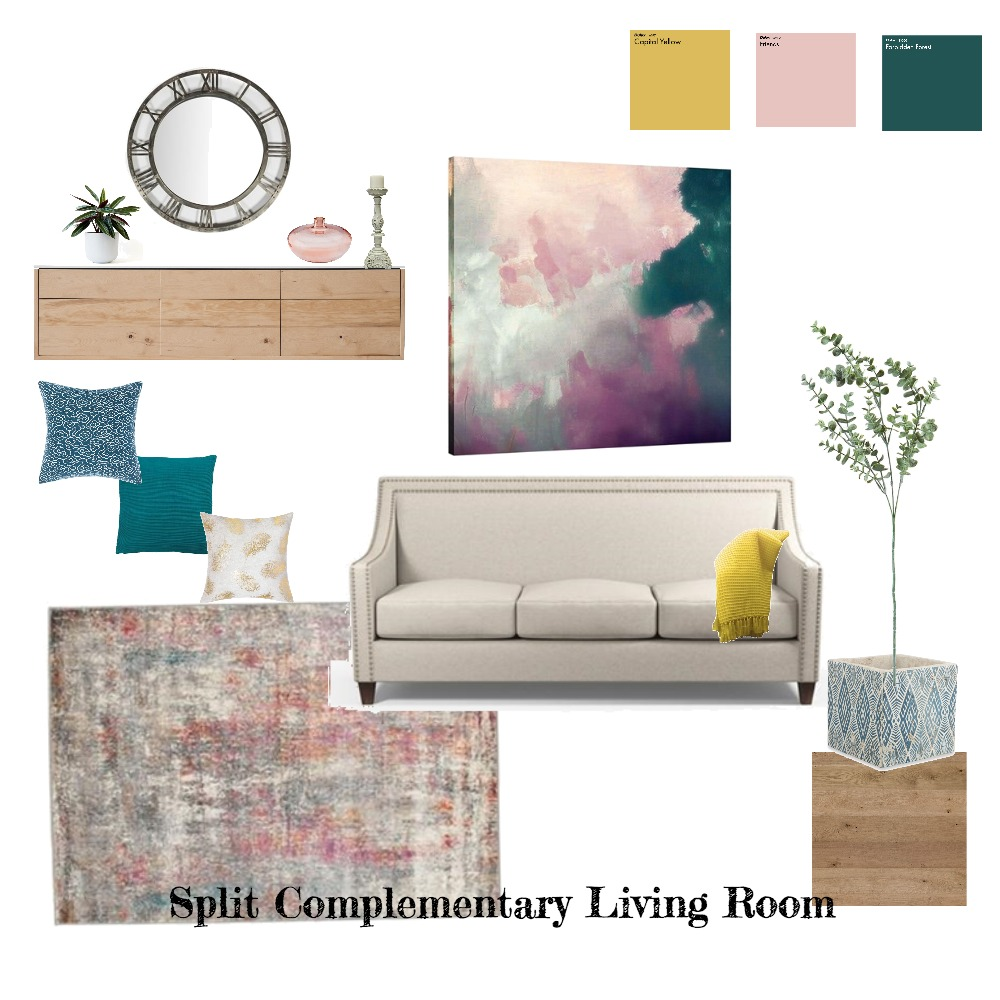 Split complementary Living Interior Design Mood Board by Chrissysd on Style Sourcebook