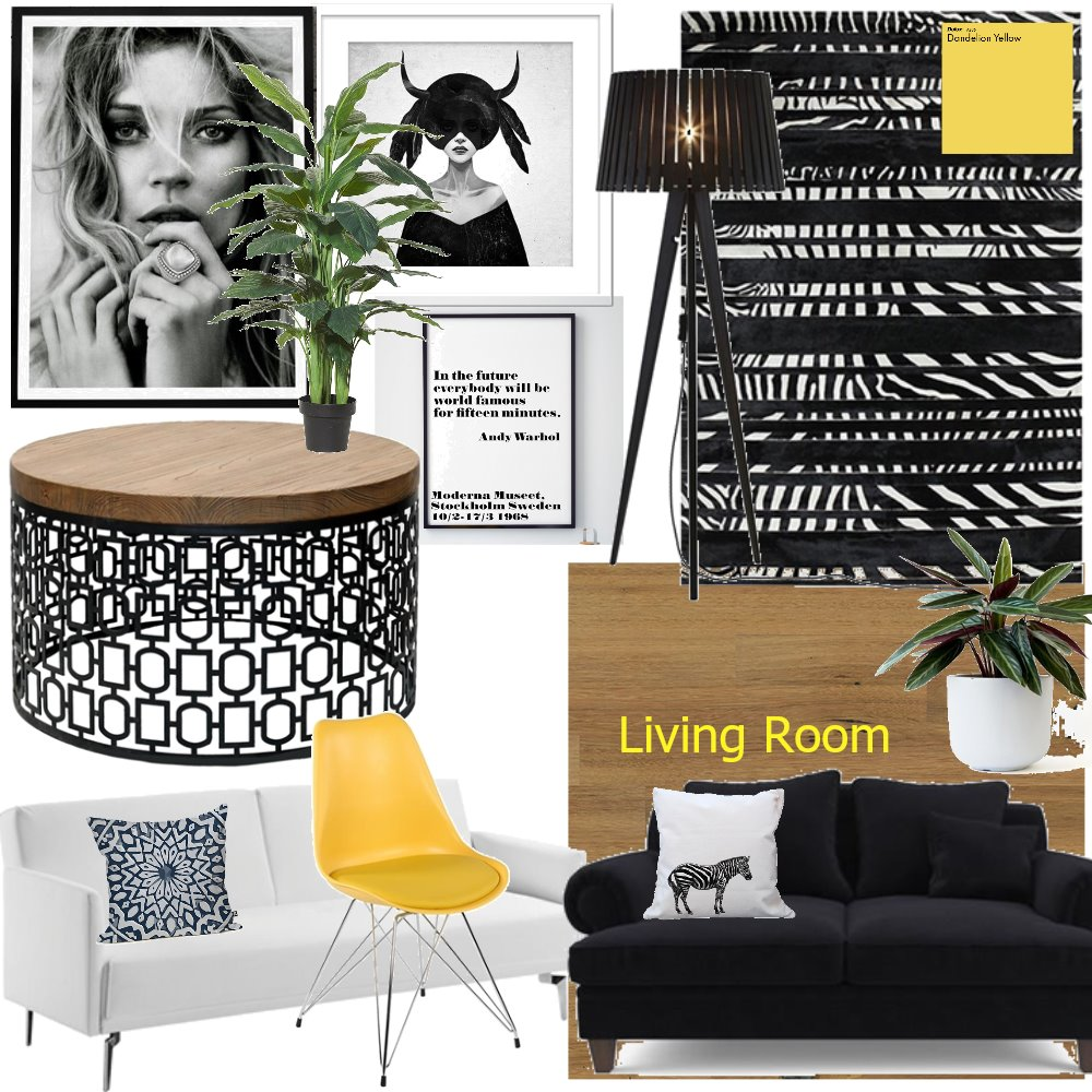Monochrome Living Room Interior Design Mood Board by CourtneyRodrigues on Style Sourcebook