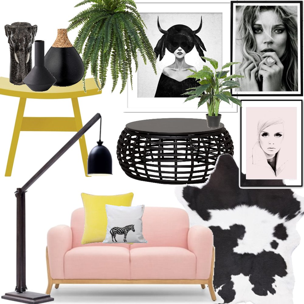 Pink, Green and Black Living Mood Board by CourtneyRodrigues on Style Sourcebook