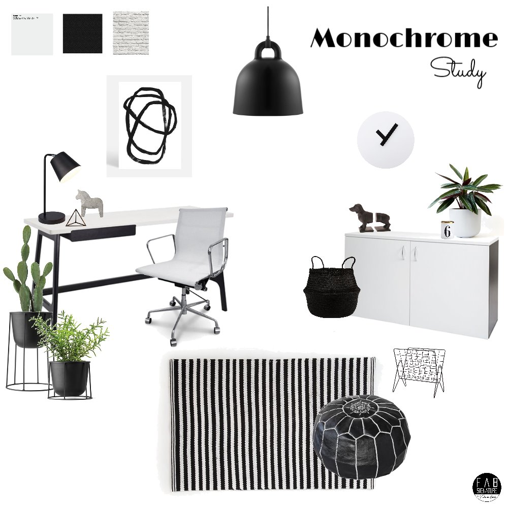 Monochrome Study Mood Board by FabSignature on Style Sourcebook