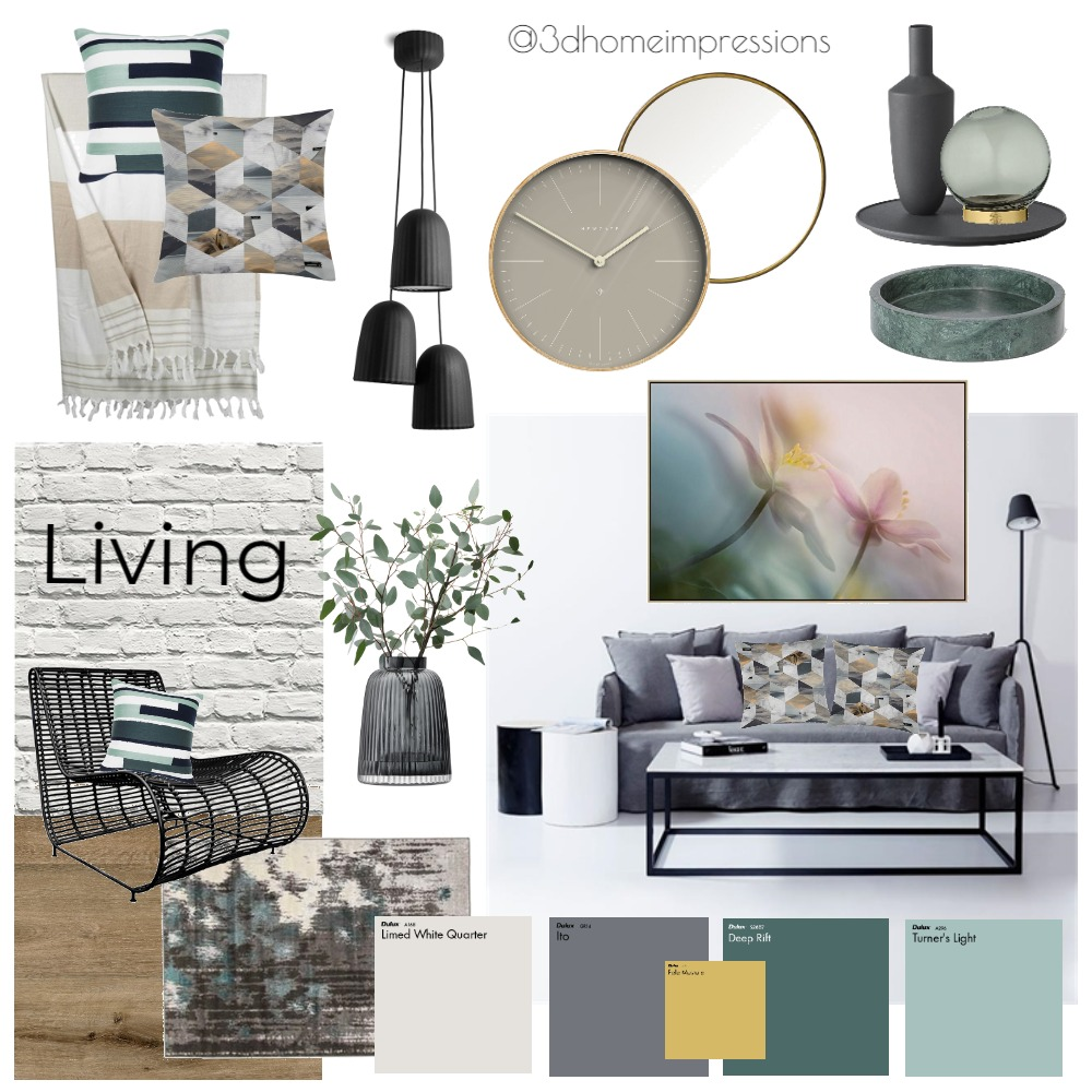 industrial living room Interior Design Mood Board by 3D Home Impressions on Style Sourcebook