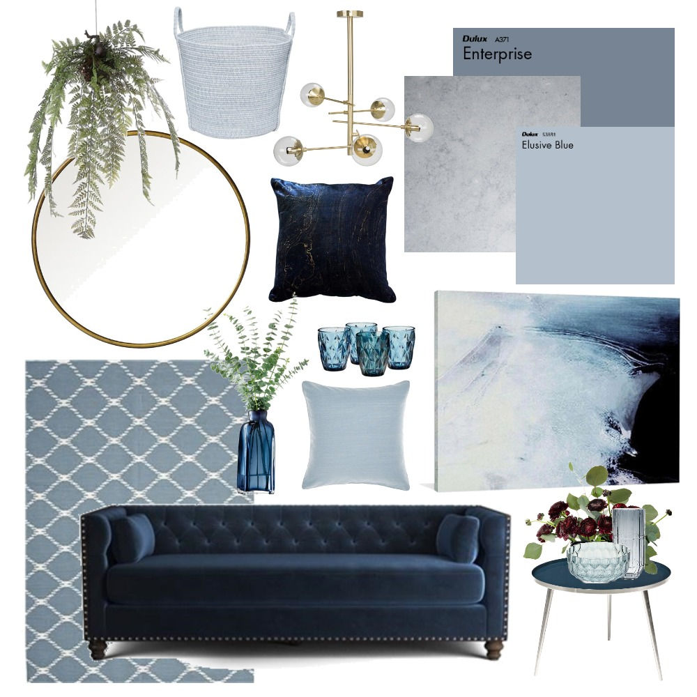 Hues of Blues Interior Design Mood Board by Thediydecorator on Style Sourcebook