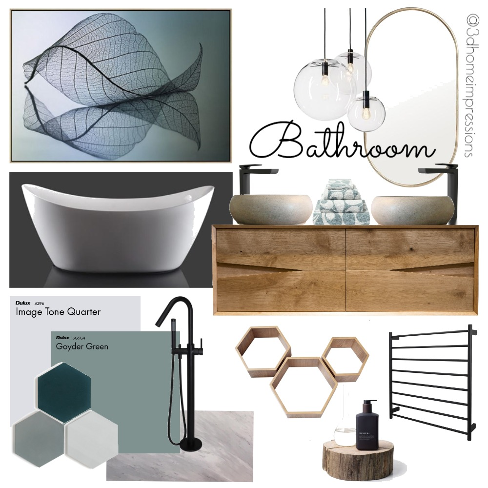 Natural Bathroom Mood Board by 3D Home Impressions on Style Sourcebook