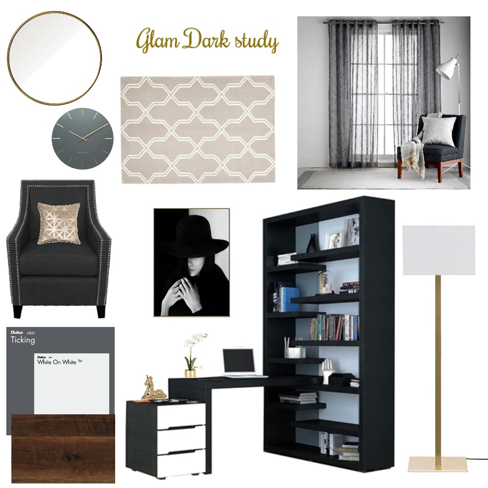 Black and Gold Study Mood Board by Kimberley689 on Style Sourcebook