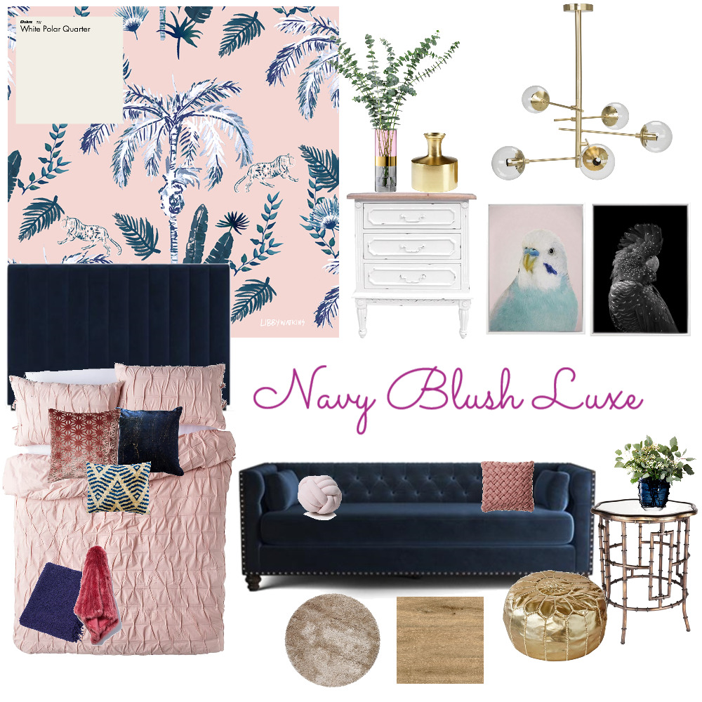 Navy Blush Luxe Interior Design Mood Board by rwoodbridge on Style Sourcebook
