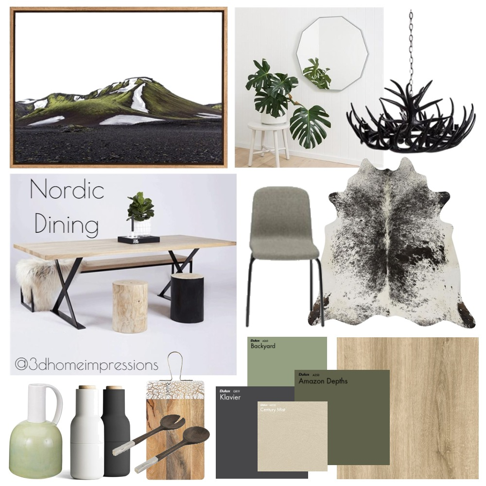 Nordic Dining Interior Design Mood Board by 3D Home Impressions on Style Sourcebook