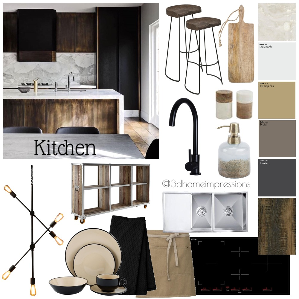 Rustic industrial Kitchen Interior Design Mood Board by 3D Home Impressions on Style Sourcebook