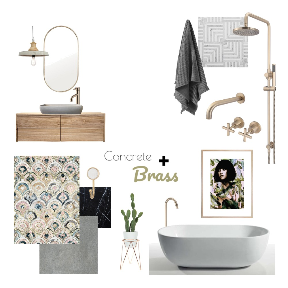 Concrete and Brass Bathroom Mood Board by interiorsbyayla on Style Sourcebook