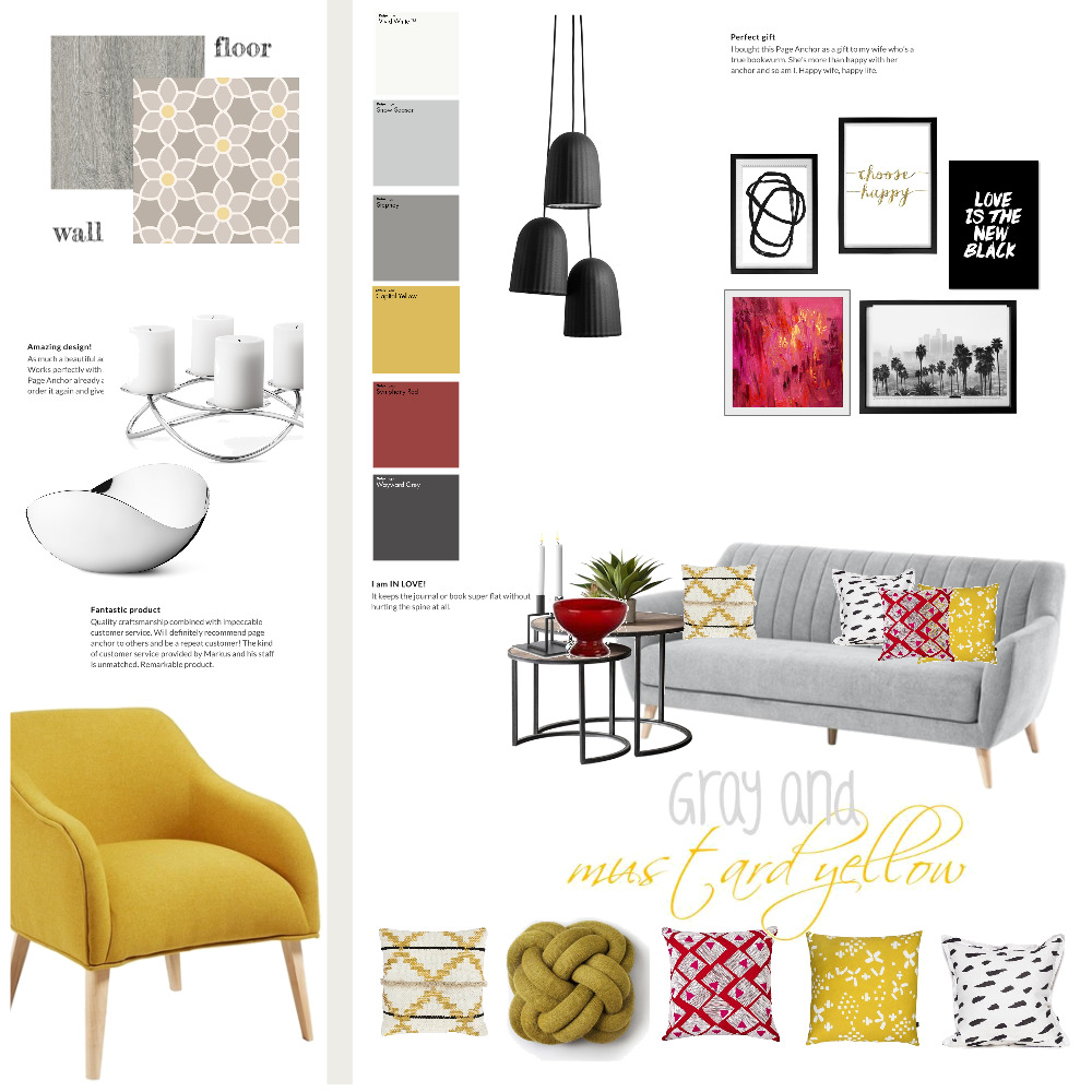 gray and mustard yellow Interior Design Mood Board by Magdolna Levai on Style Sourcebook