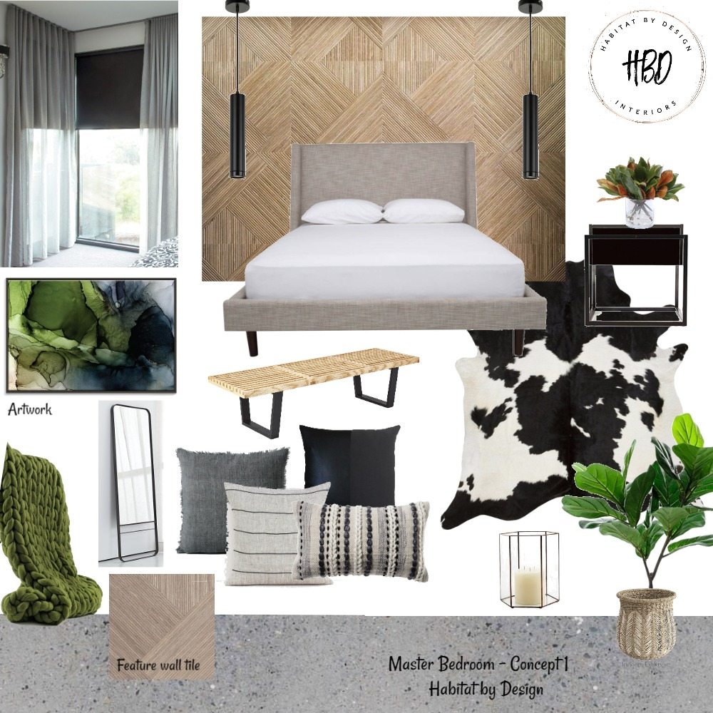 Master Bedroom Concept 1 Interior Design Mood Board by Habitat_by_Design on Style Sourcebook