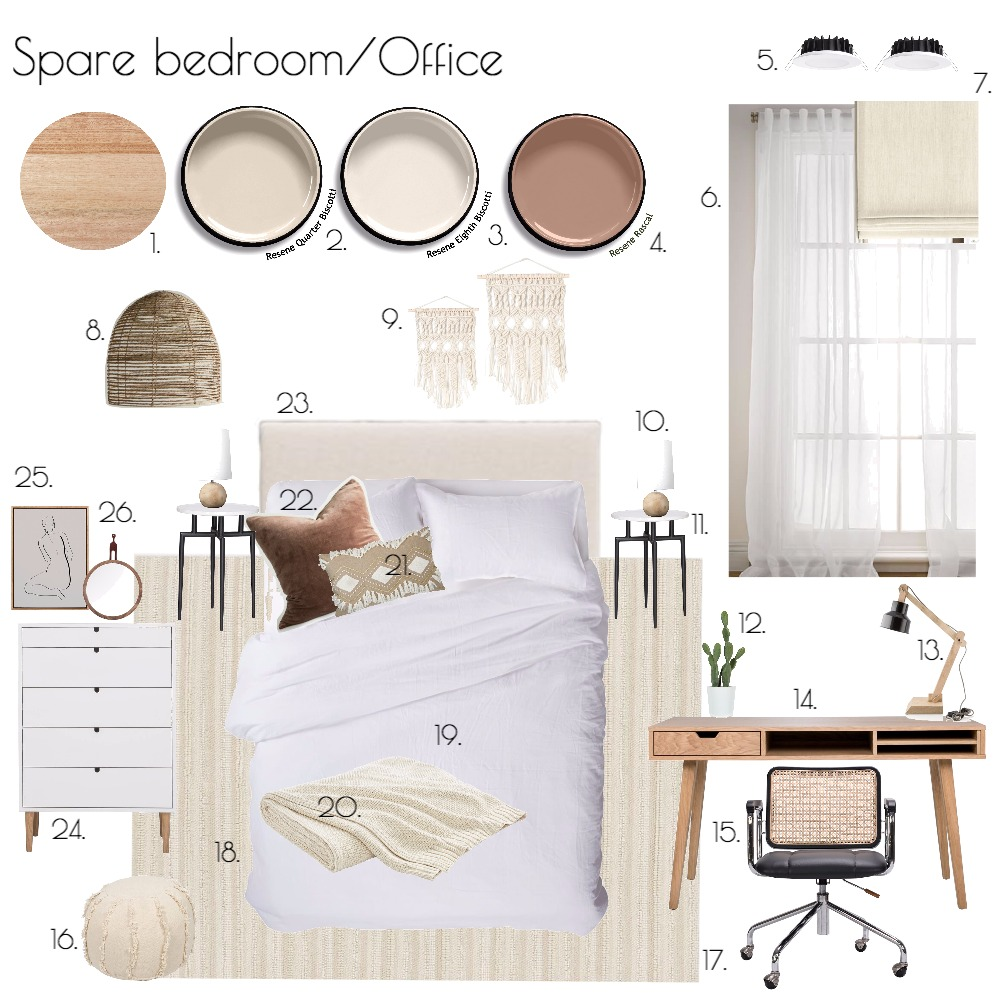 Spare bedroom/Office Interior Design Mood Board by ChampagneAndCoconuts on Style Sourcebook