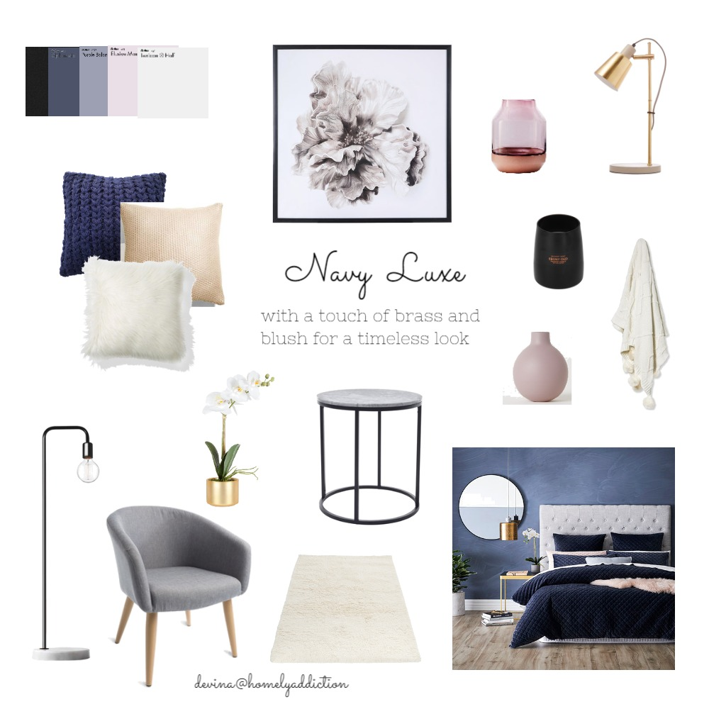 Navy blushbedroom Mood Board by HomelyAddiction on Style Sourcebook