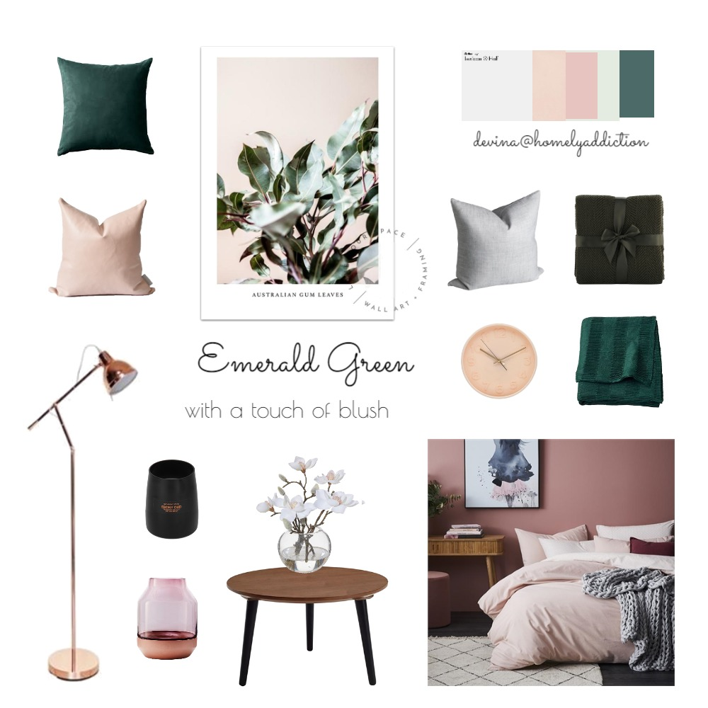 Bedroom emerald green blush ver 2 Mood Board by HomelyAddiction on Style Sourcebook
