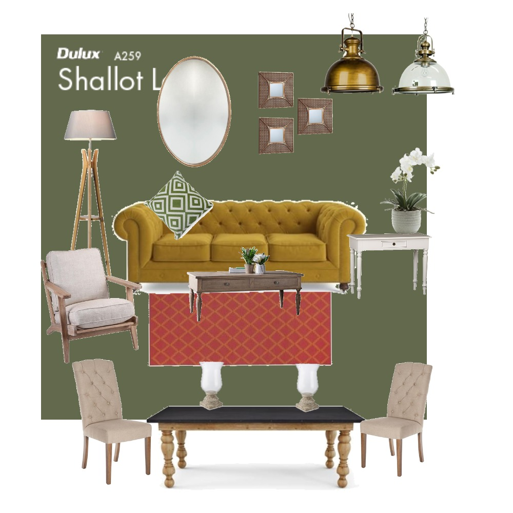 Livingroom  Green Yellow Interior Design Mood Board by Gerda on Style Sourcebook