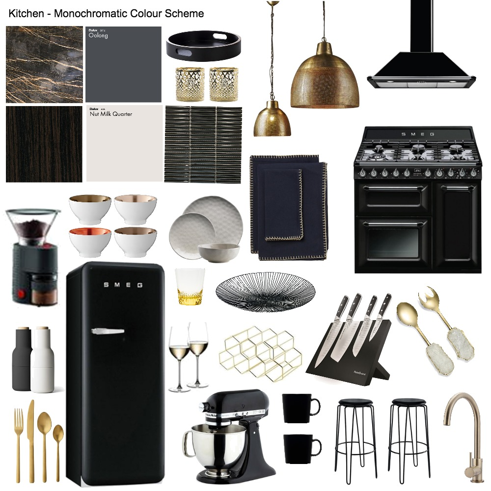 Kitchen - Monochromatic Colour Scheme Mood Board by mianardone on Style Sourcebook