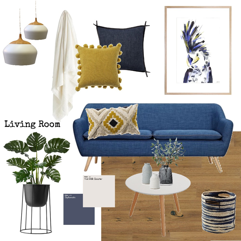 Blue Couch Living Room Mood Board by AnnabelFoster on Style Sourcebook