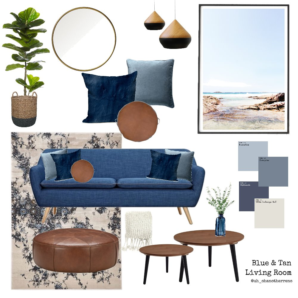 Blue & Tan Living Room Mood Board by AnnabelFoster on Style Sourcebook
