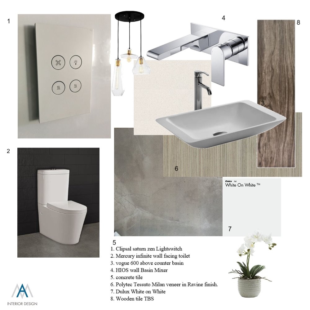 Bathroom Pallet Interior Design Mood Board by AM Interior Design on Style Sourcebook