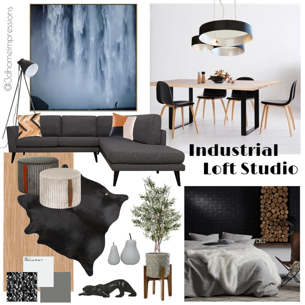 Industrial Loft Studio Interior Design Mood Board by 3D Home Impressions on Style Sourcebook
