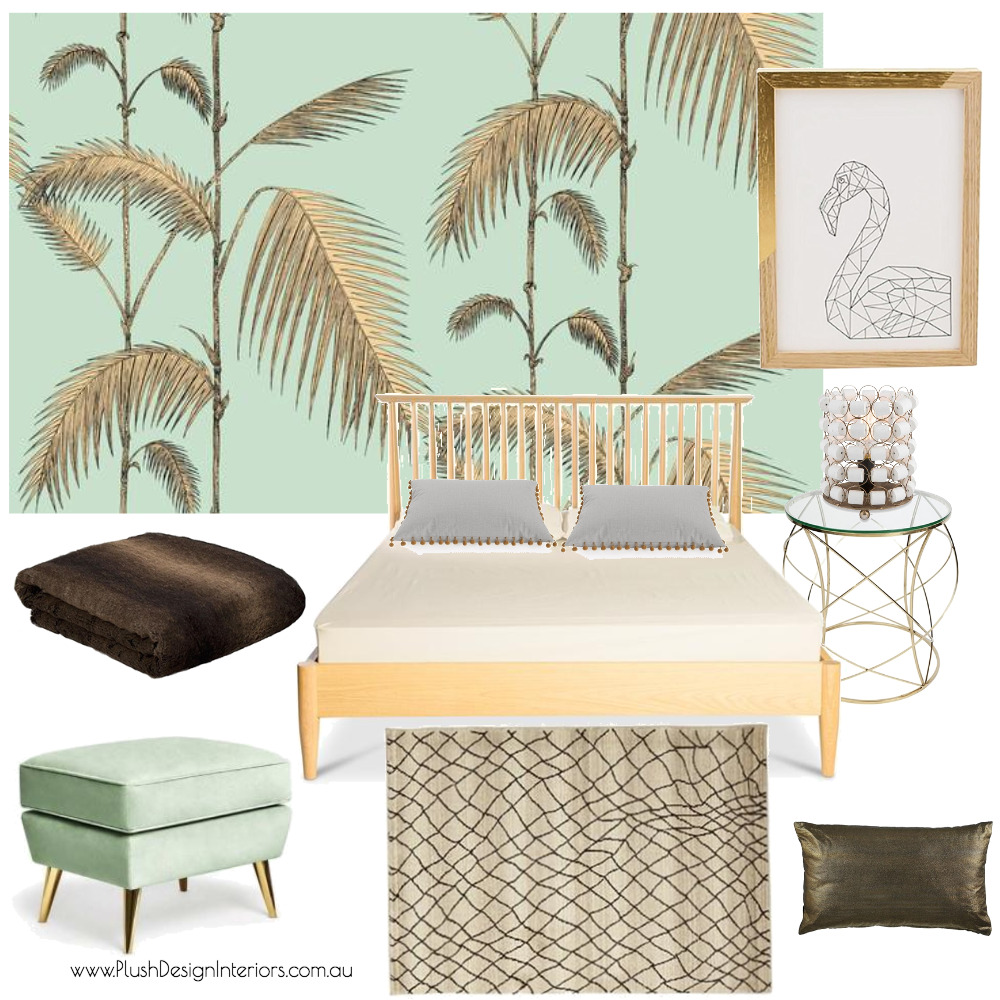 Serina - Guest Bedroom #Mint Interior Design Mood Board by Plush Design Interiors on Style Sourcebook