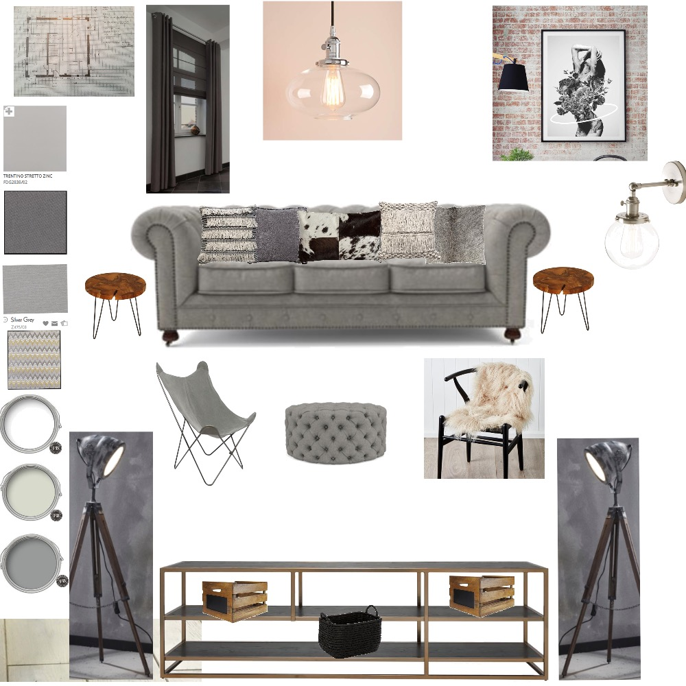 Industrial/eclectic living room Interior Design Mood Board by LMH Interiors on Style Sourcebook