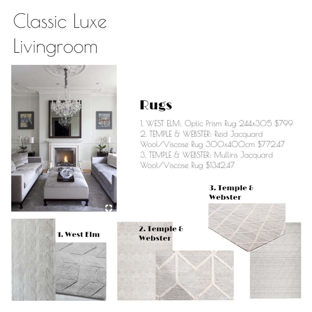 Classic Luxe Living - Rugs Mood Board by emmi_loulalay on Style Sourcebook