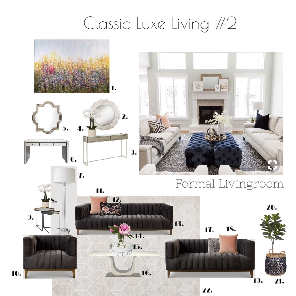 Classic Luxe Livingroom #2 Directory Mood Board by emmi_loulalay on Style Sourcebook