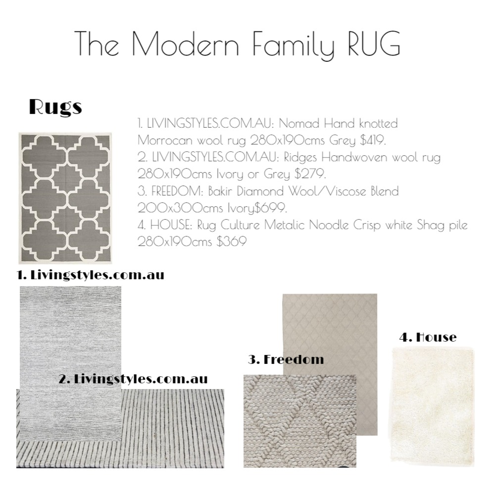 The Modern Family RUG Mood Board by emmi_loulalay on Style Sourcebook