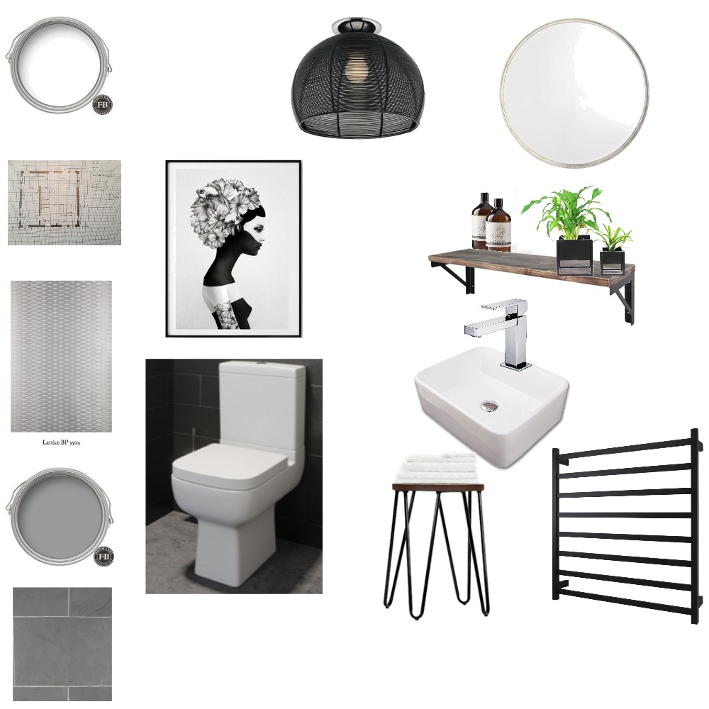 Industrial WC/Cloakroom with a little glam! Mood Board by LMH Interiors on Style Sourcebook