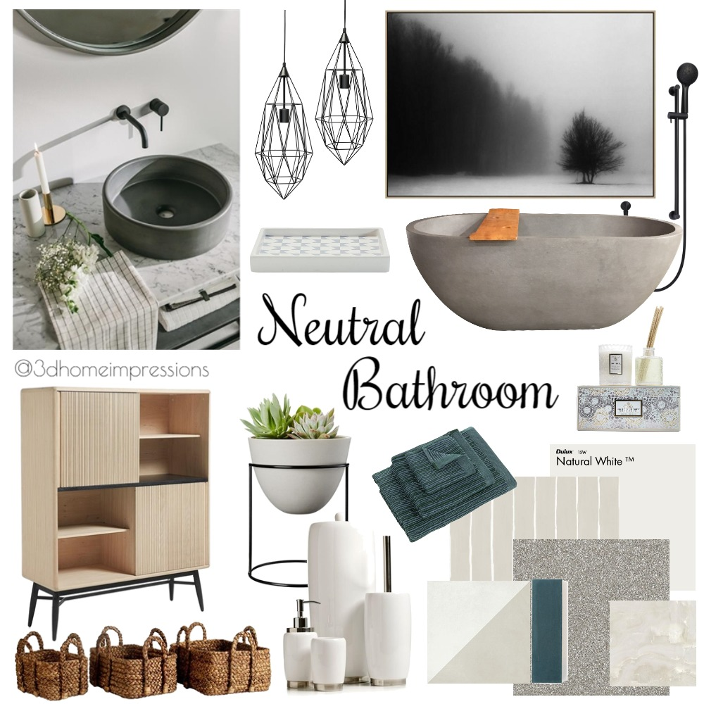 Neutral Bathroom Mood Board by 3D Home Impressions on Style Sourcebook